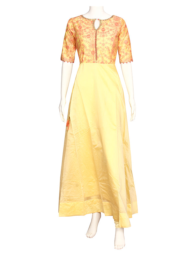 Lemon yellow party wear suit with machine embroidery