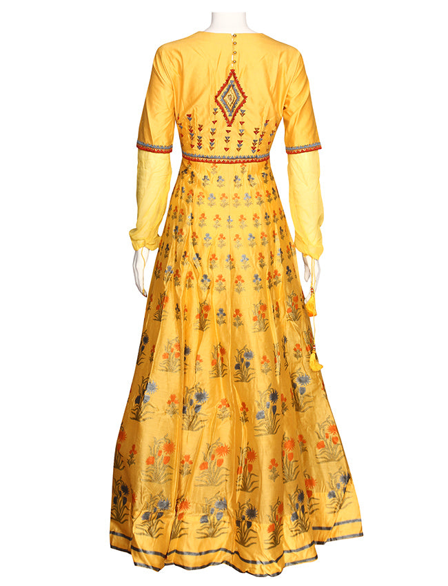 Yellow foil printed anarkali with zari thread embroidery and handwork