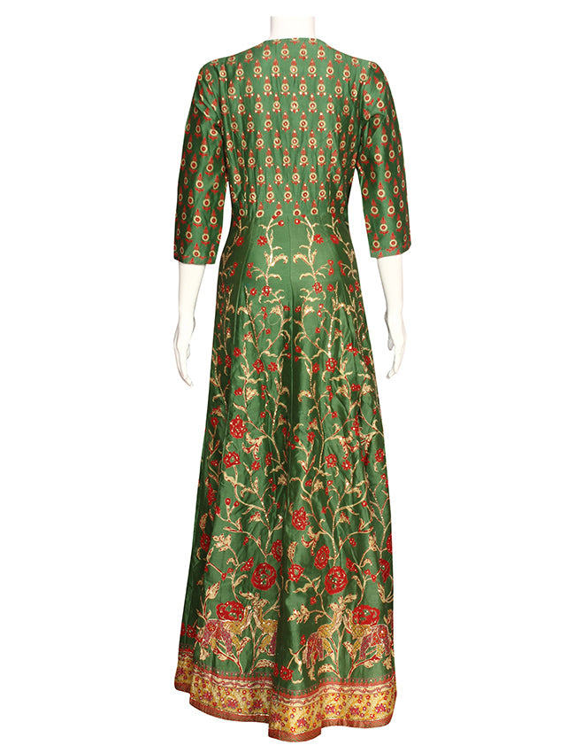 Olive green printed anarkali with sequins work