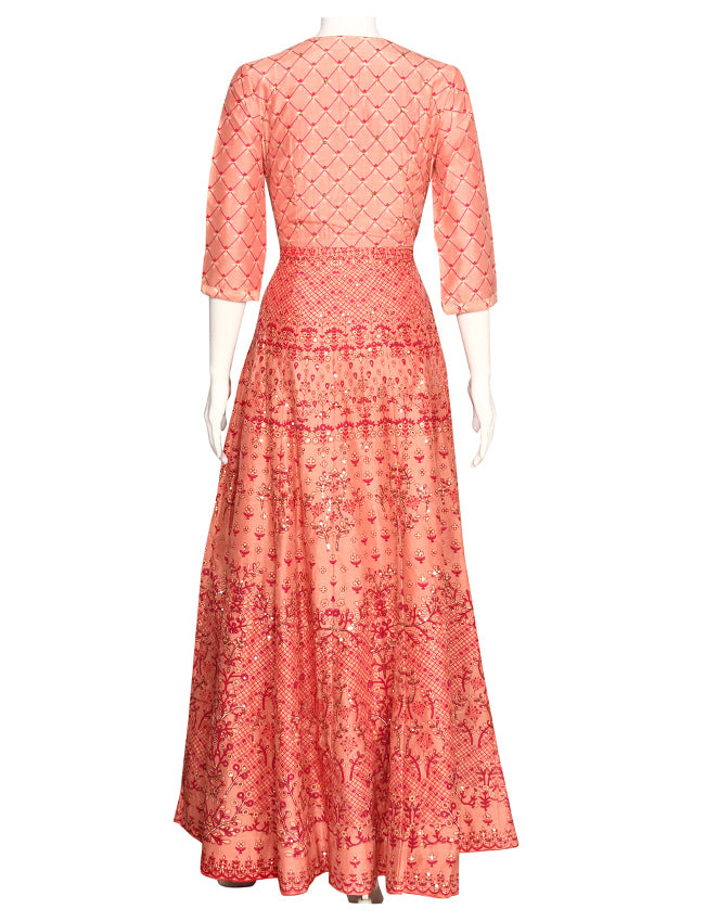 Peach printed anarkali with sequins work