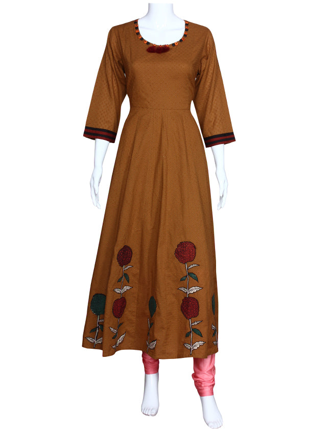 Beige kalidar kurti with applique work