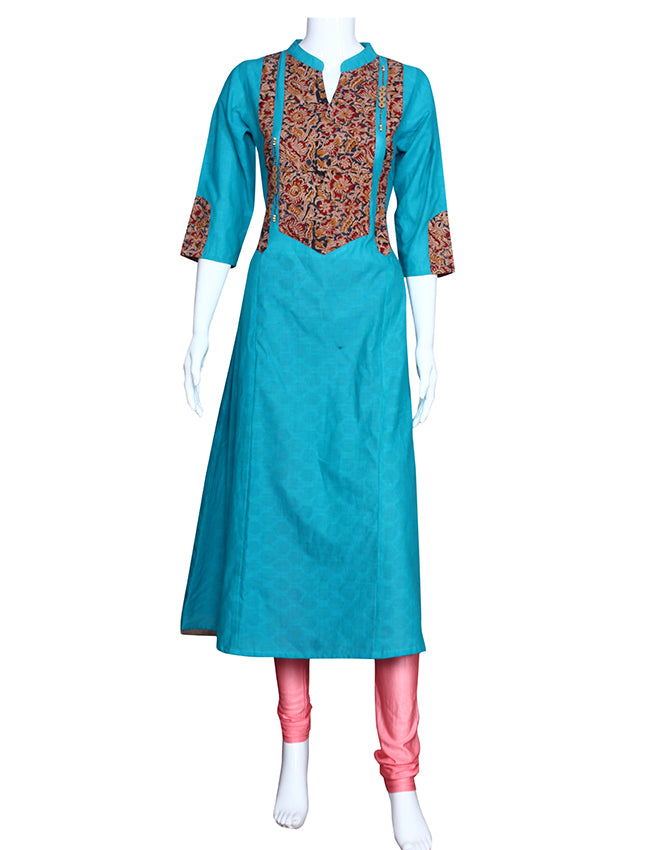 Peacock blue A-line kurti with printed placket