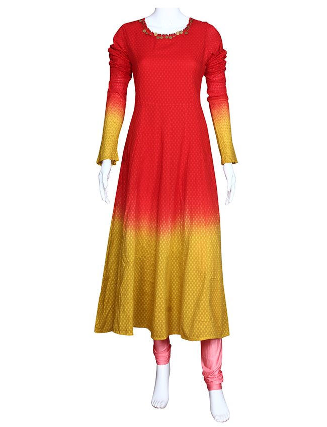 Red and mustard yellow shaded kalidar kurti with metal sequins