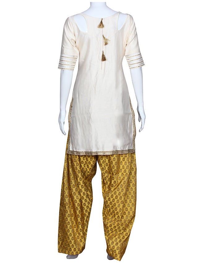 Off white salwar suit with zari embroidery and handwork