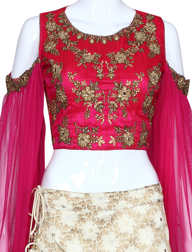 Cream and deep pink crop top lehenga wit h handwork
