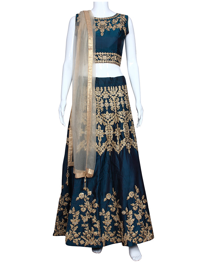 Teal green crop top lehenga with zari embroidery