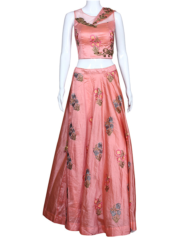 Peach indowestern lehenga with resham embroidery and handwork