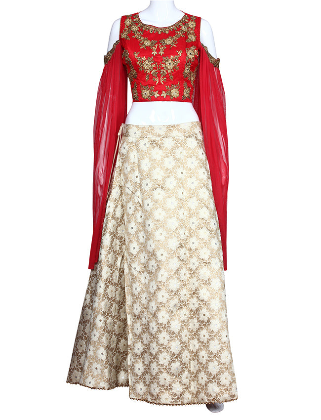 Cream and red crop top lehenga wit h handwork