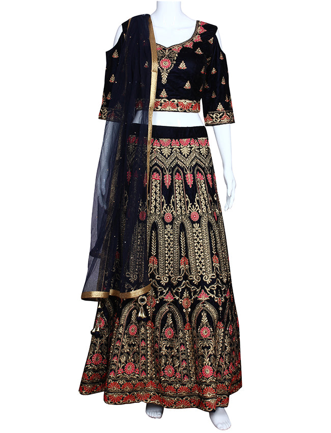 Navy blue crop top lehenga with zari and resham embroidery