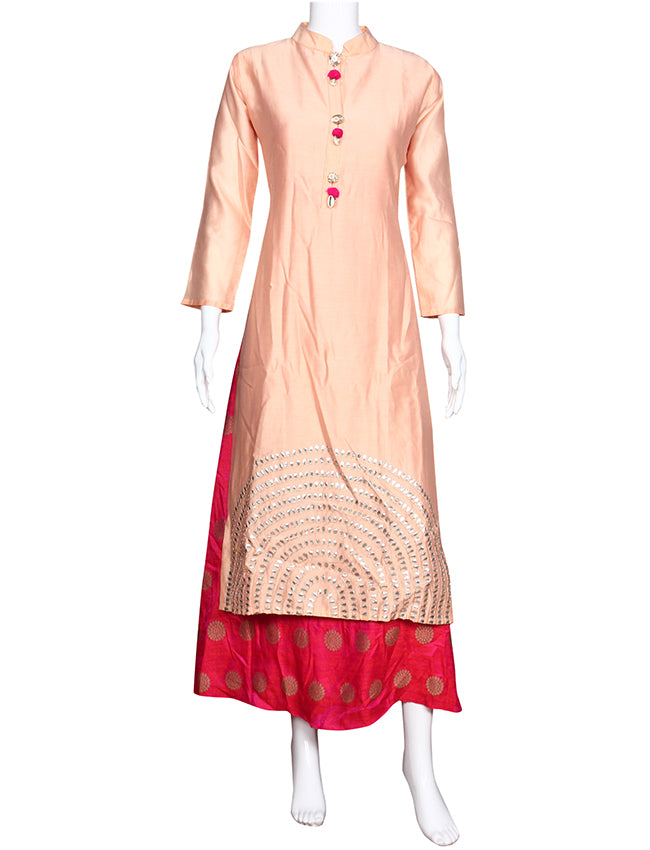 Peach party wear kurti with gotta patti embellishment