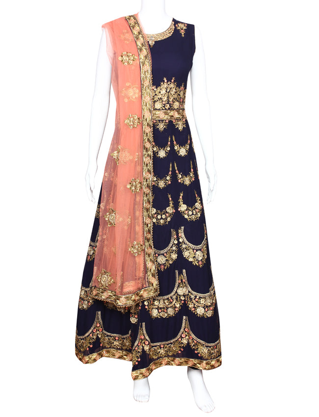 Navy blue anarkali suit with resham zari embroidery and handwork