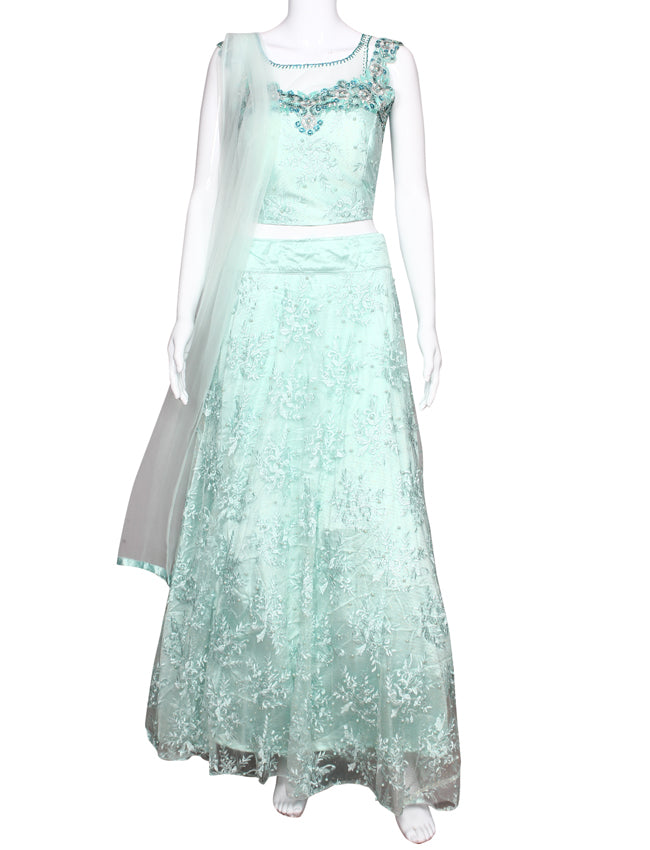 Mint party wear suit with machine embroidery and handwork