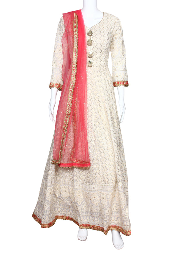 Cream anarkali suit with thread zari embroidery and sequins