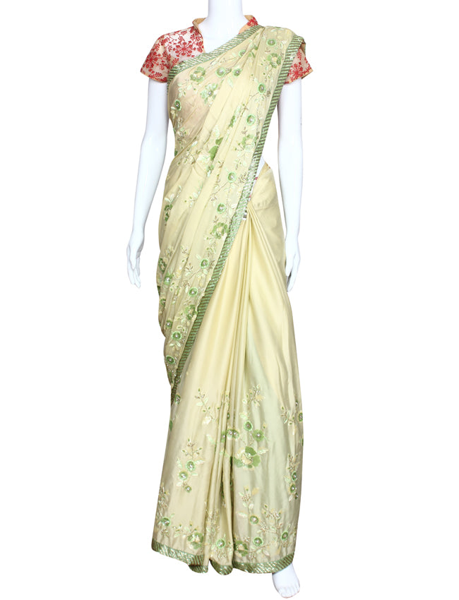 Lemon yellow party wear saree with sequins cutdana diamante and resham embroidery