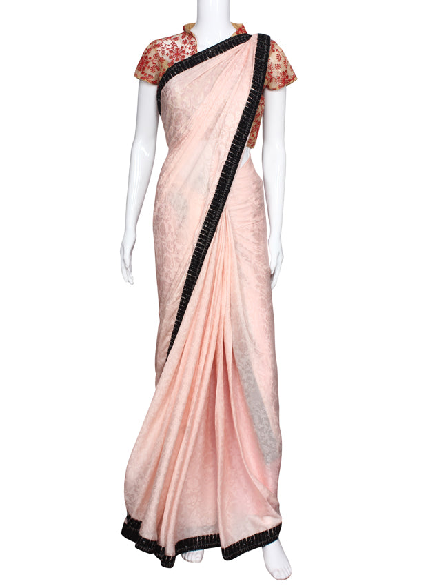 Baby pink party wear saree with thread embroidery and stone work