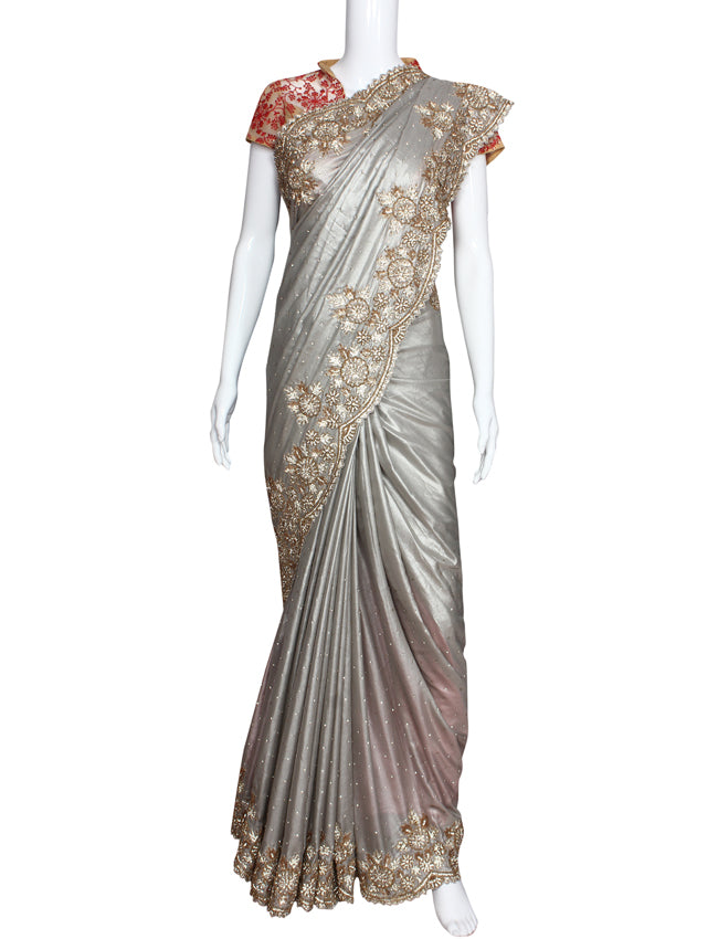 Silver party wear saree with diamante sequins and beads embellishment