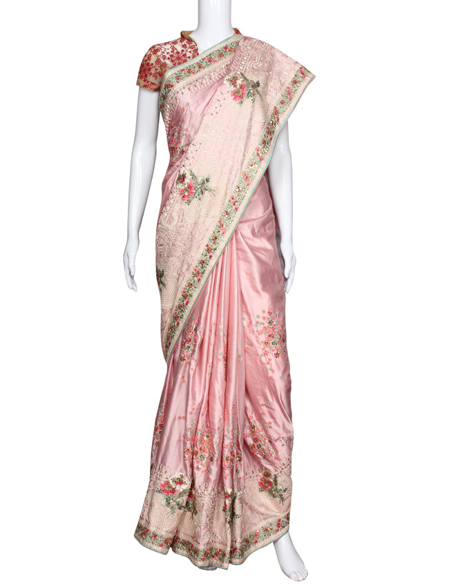 Baby pink party wear saree with resham embroidery and handwork