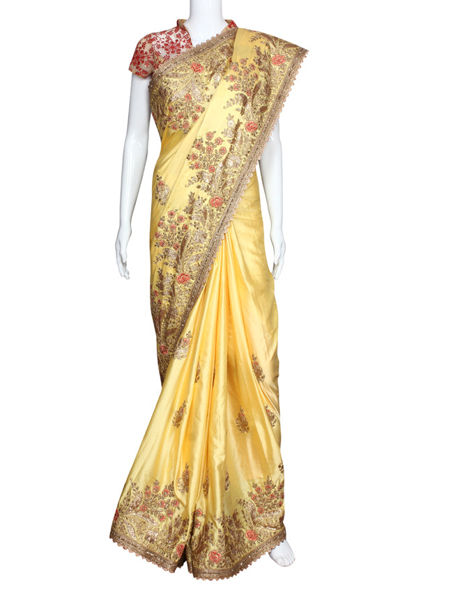 Yellow wedding saree with kundan resham and zari embroidery