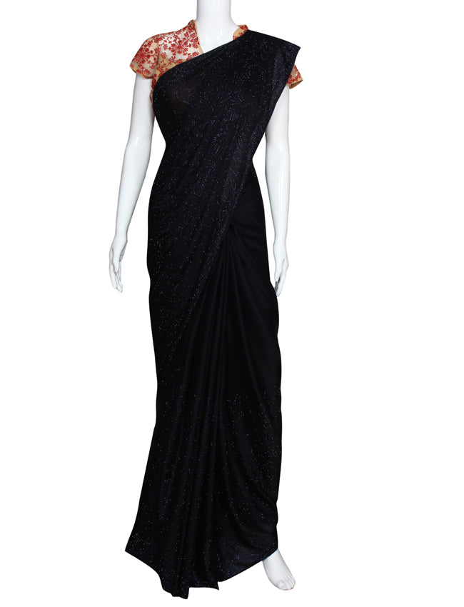 Navy blue party wear saree with swarovski