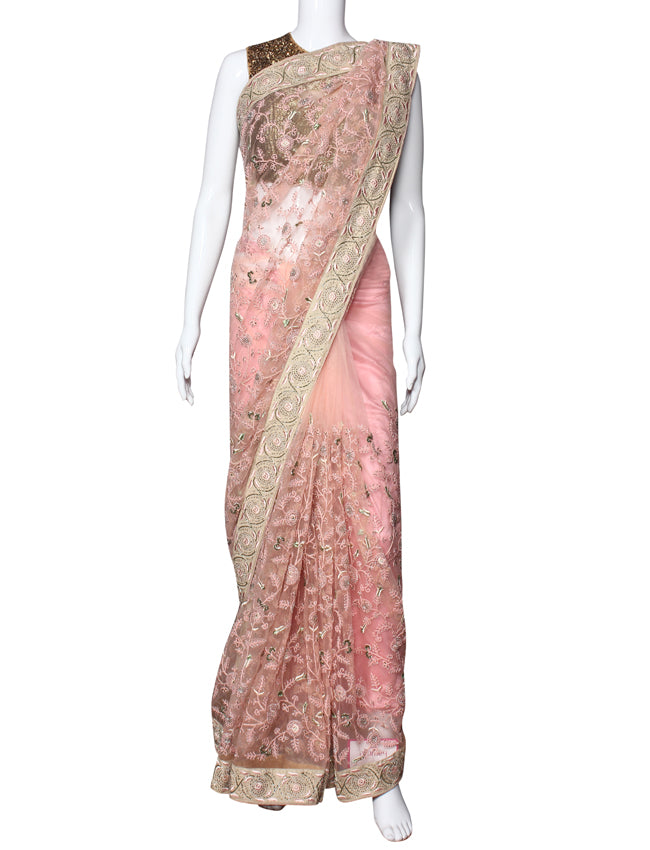 Baby pink party wear saree with thread cording cutdana and resham embroidery