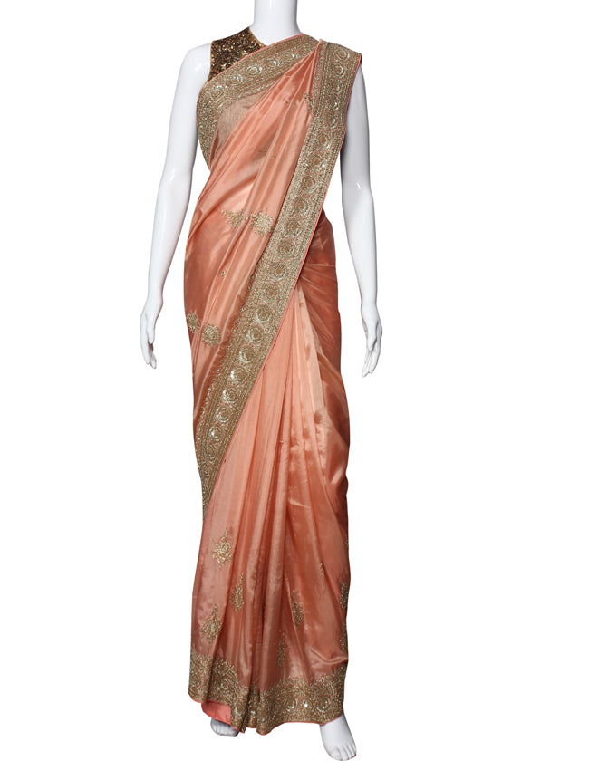 Peach party wear saree with handwork
