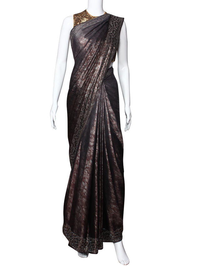 Black and grey shaded shimmer party wear saree with swarovski