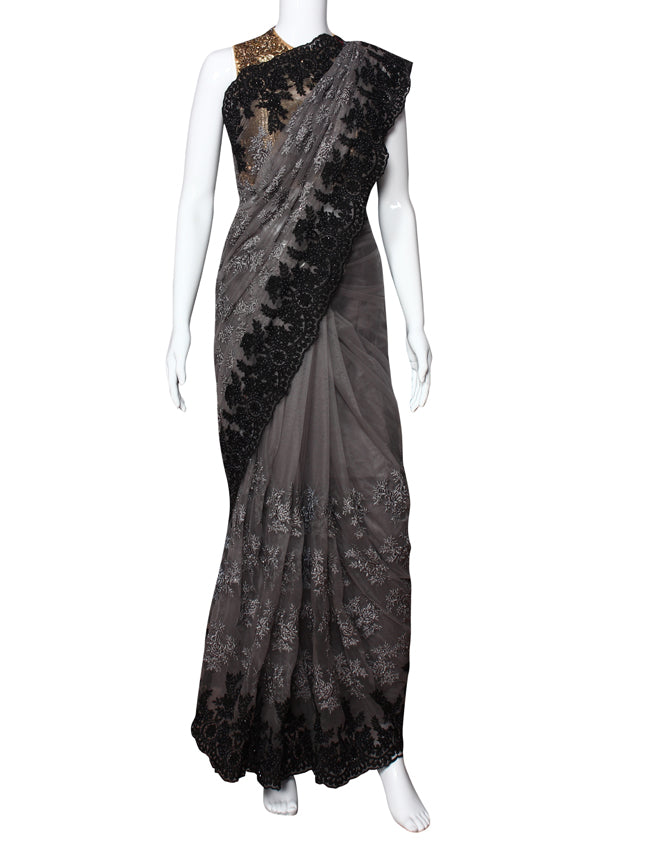 Grey party wear saree with kundan pearl and resham embroidery