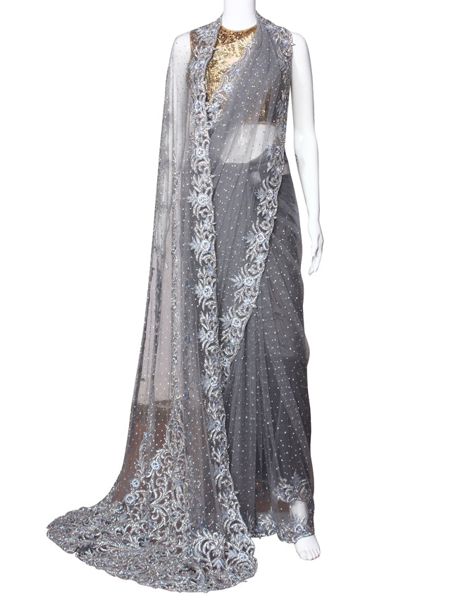 Grey party wear saree with diamante beads and resham embroidery