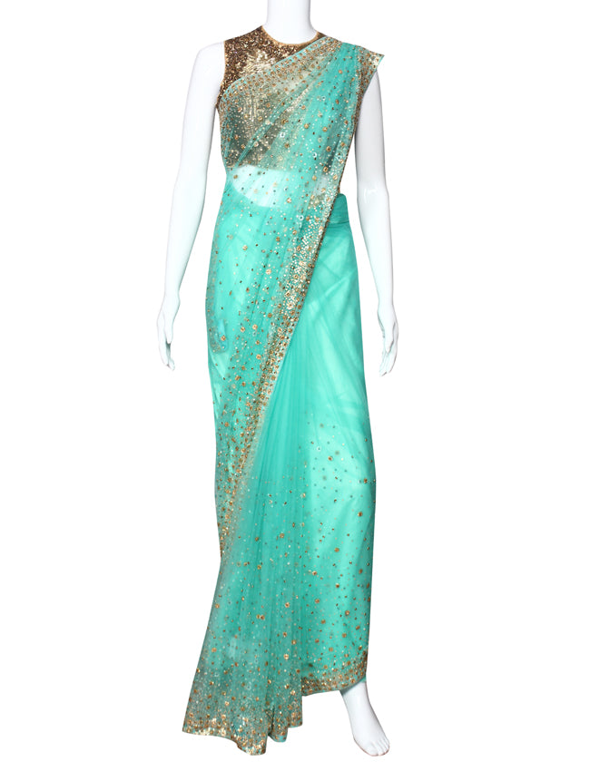 Turquoise party wear saree with sequins and kundan work