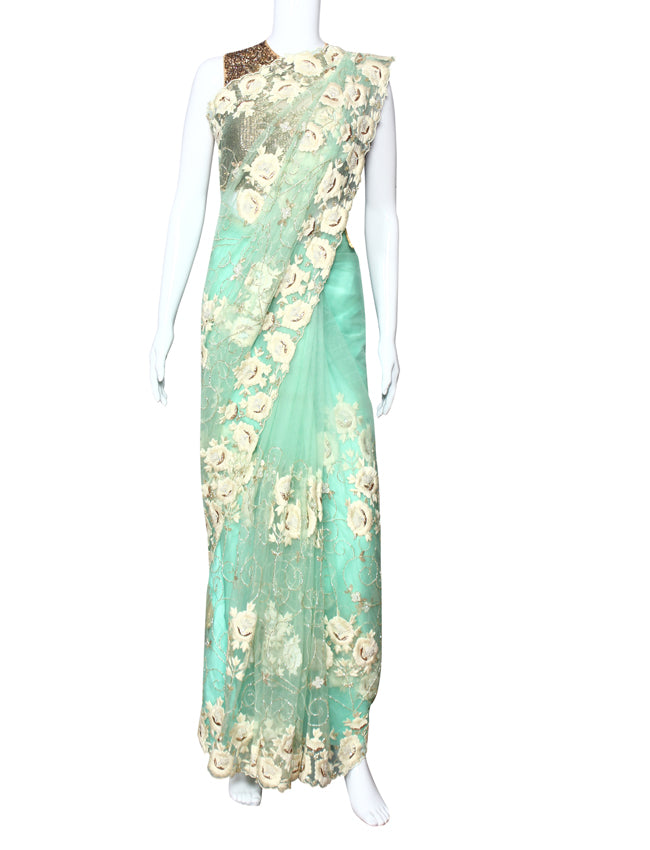 Mint party wear saree with thread embroidery mukaish and handwork