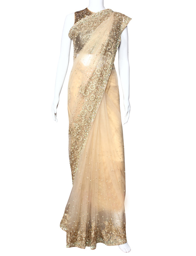 Beige party wear saree with sequins beads and zari embroidery
