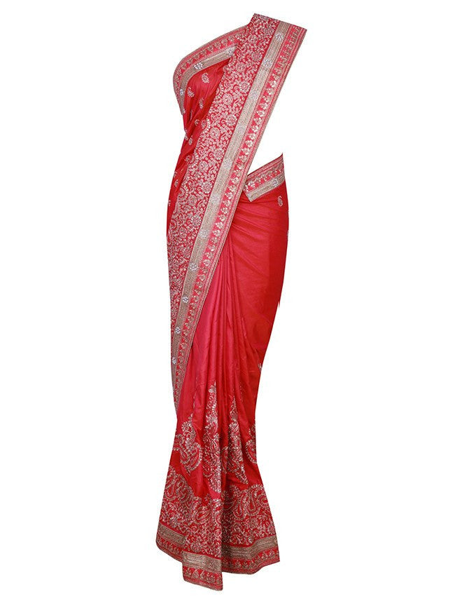 Red saree with kundan and zari embroidery