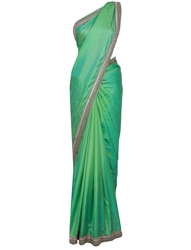 Parrot green saree with kundan and beads work