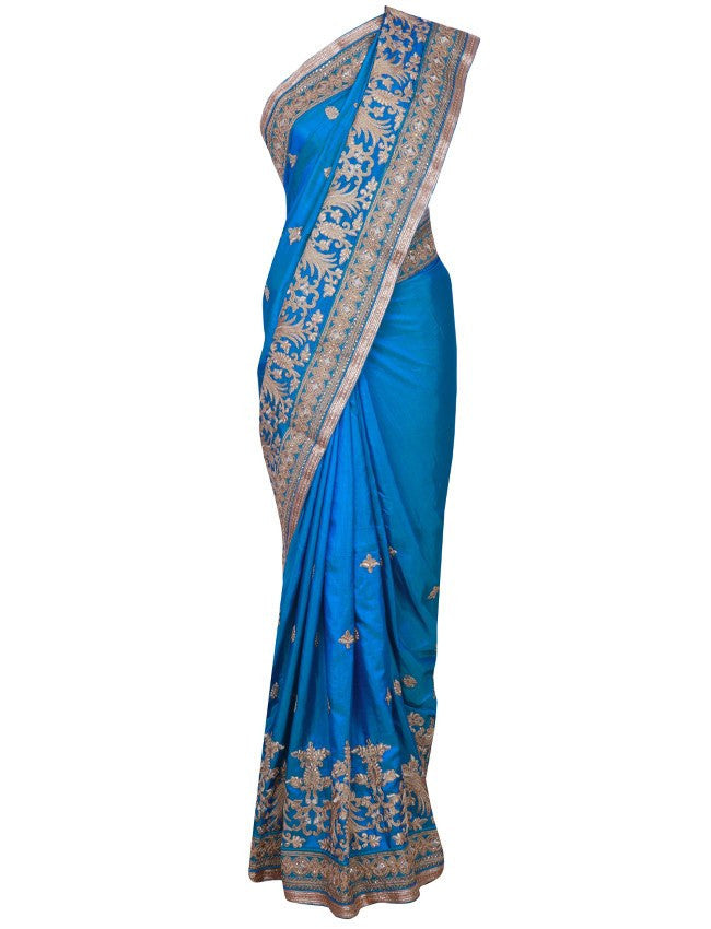 Peacock blue saree with zari cording