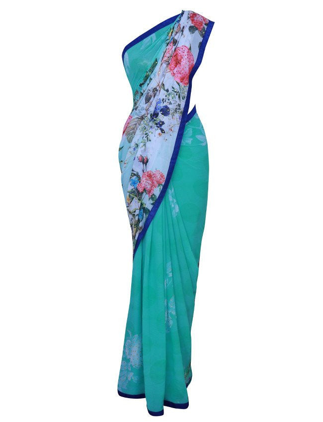 Beautiful turquoise floral printed saree