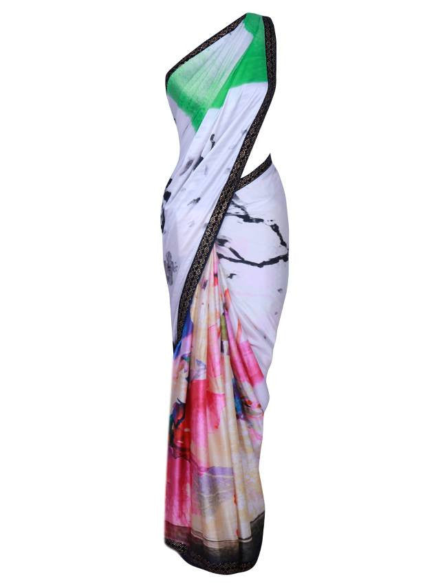 Multicolor saree with swarovski