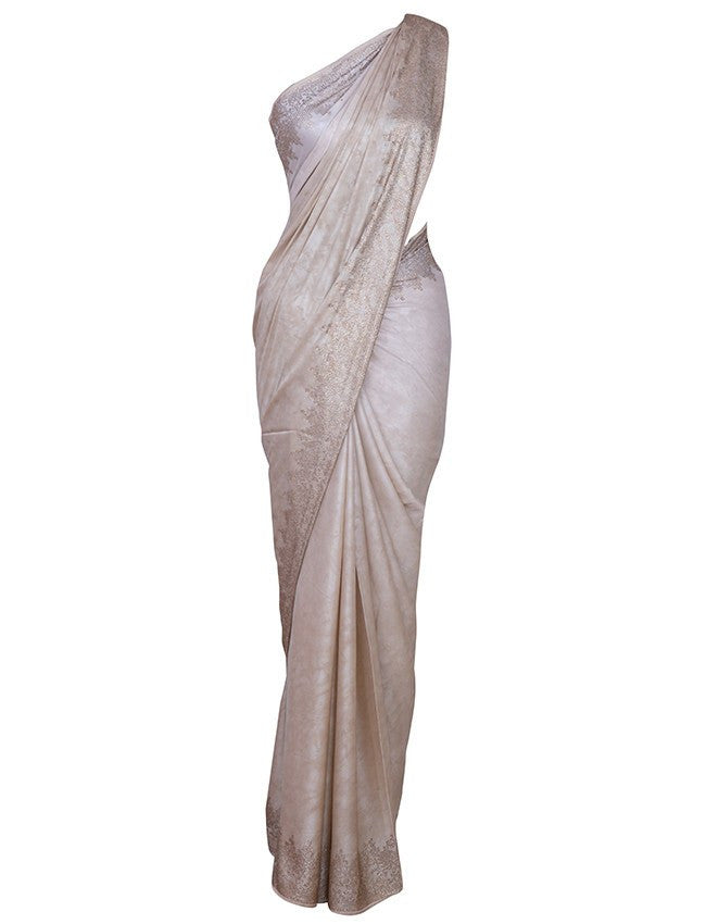 Beautiful beige saree with swarovski
