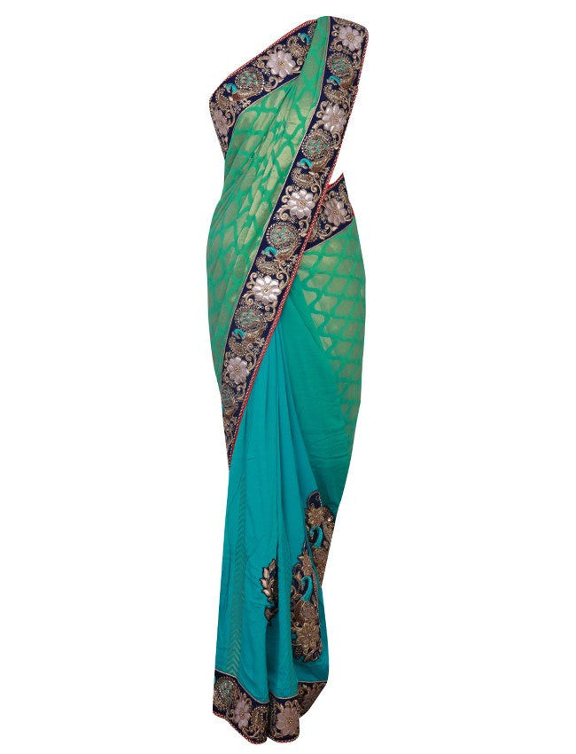 Shaded green saree with embroidery