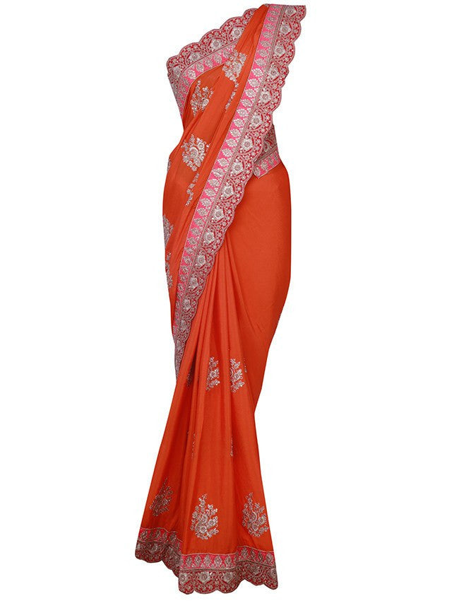 Orange saree with kundan and zari embroidery