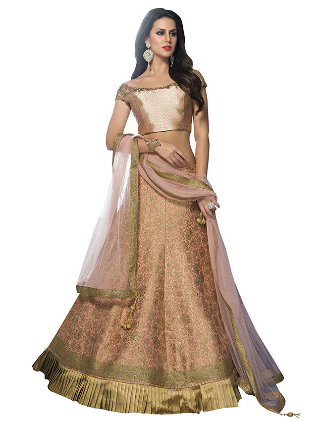 Peach lehenga with cutdana and diamante work