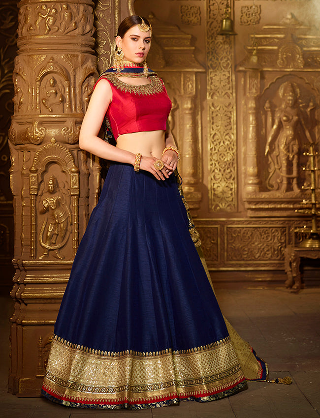Blue bridesmaid lehenga with zari embroidery and handwork