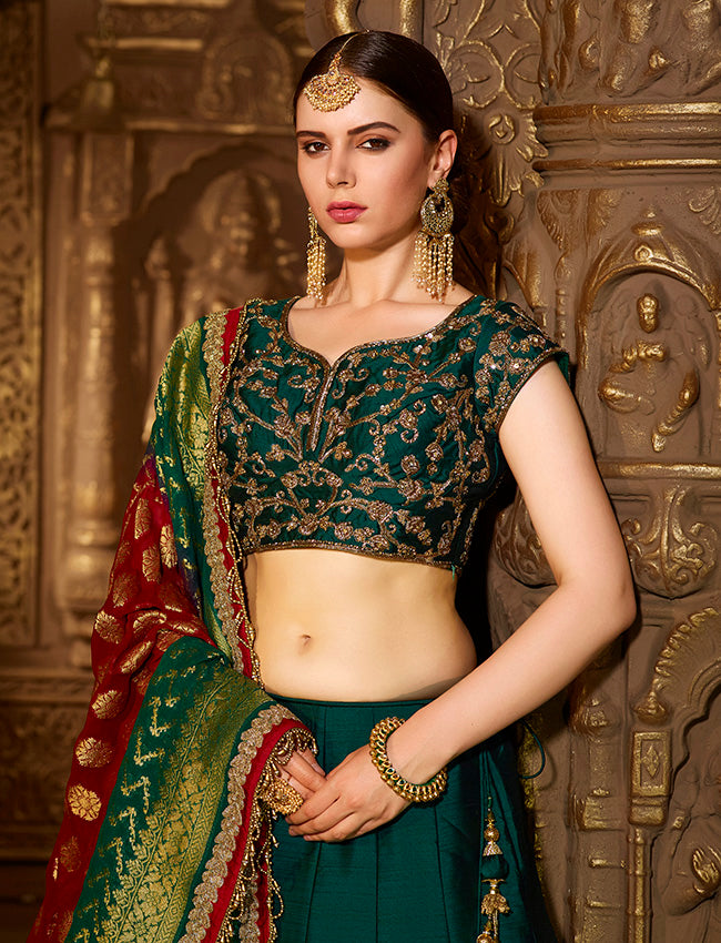 Bottle green bridesmaid lehenga with zari embroidery and zardosi work