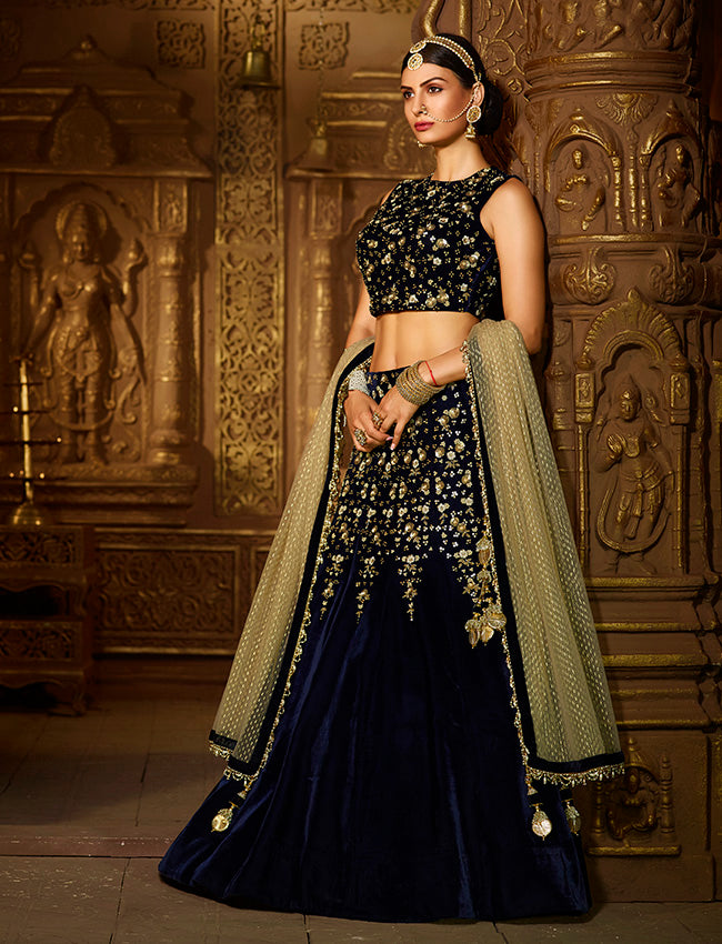 Navy blue bridesmaid lehenga with zari embroidery and handwork