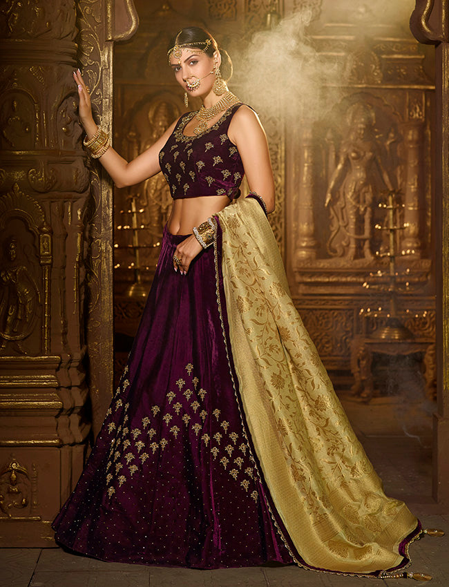 Wine bridesmaid lehenga with handwork