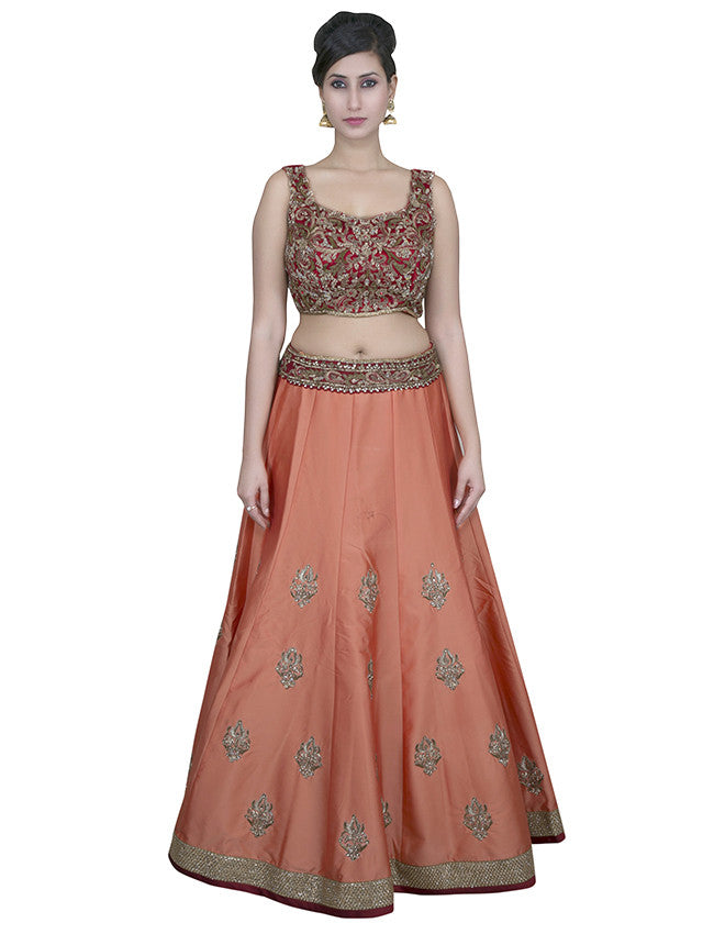 Peach red lehenga with zardosi diamante and zari embroidery