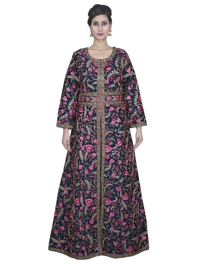 Navy blue rose pink jacket anarkali with resham and zari embroidery