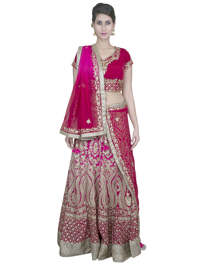 Pink and red shaded lehenga with diamante and aari embroidery