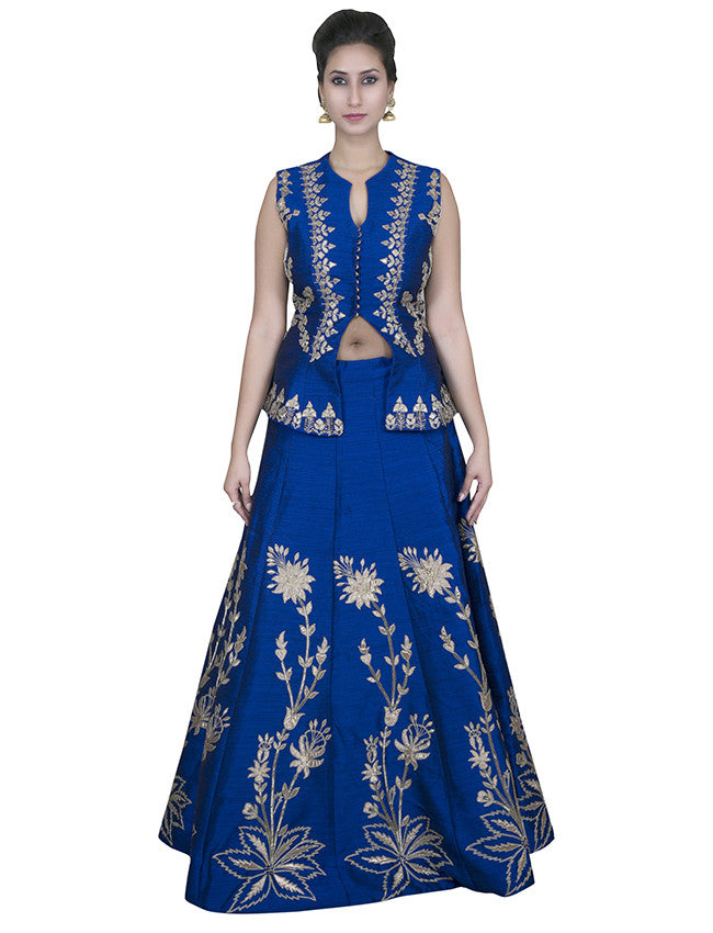 Blue indowestern corset lehenga with gotta patti