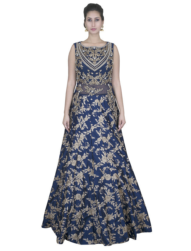 Navy blue gown with dabka and resham embroidery