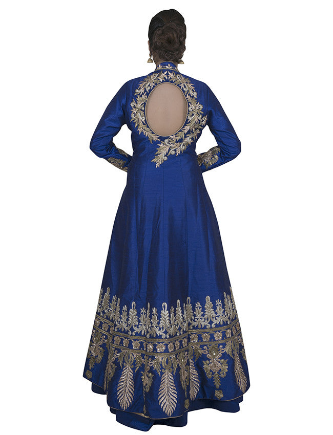 Beige and blue jacket lehenga with antique gold embroidery